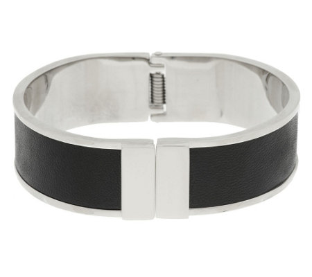 Stainless Steel Leather Inset Bangle Bracelet