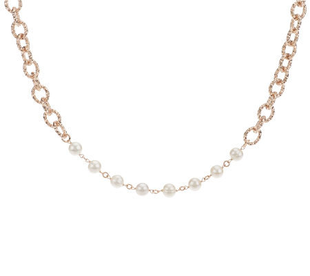 """As Is"" Honora Cultured Pearl 36"" Textured Link Bronze Necklace"