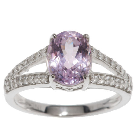 2.40 ct tw Oval Kunzite & White Zircon Sterling Ring