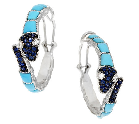 Judith Ripka Sterling Turquoise & Sapphire Snake Earrings