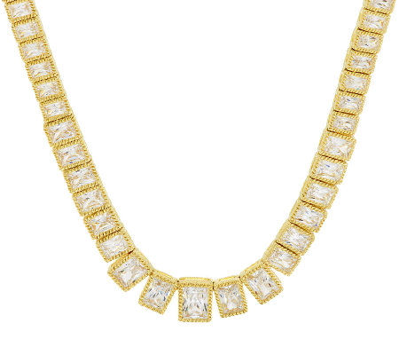 "Judith Ripka Sterling & 14K Clad 19.30 ct Diamonique 18"" Tennis Necklace"