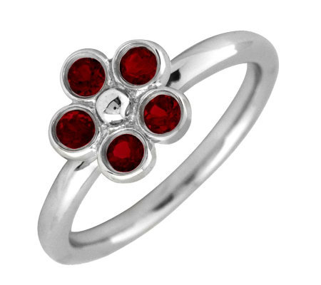 Simply Stacks Sterling & Garnet Sweet Flower Ring