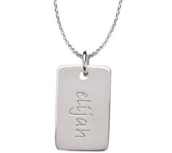 Posh Mommy Sterling Mini Dog Tag Pendant with Chain - J300045