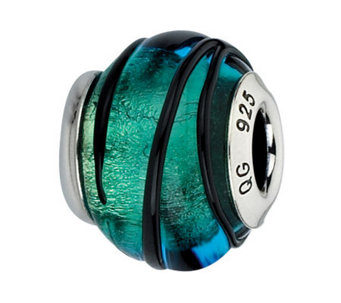 Prerogatives Black & Green Striped Italian Murano Glass Bead - J300145