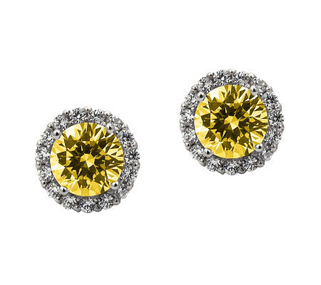 Diamonique 100-Facet Canary Stud Halo Earrings,Platinum Clad
