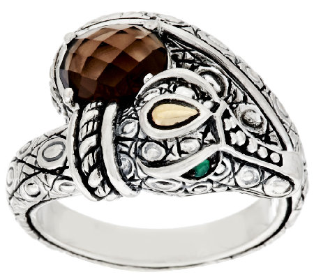 JAI Sterling & 14K Gemstone Croco Ring
