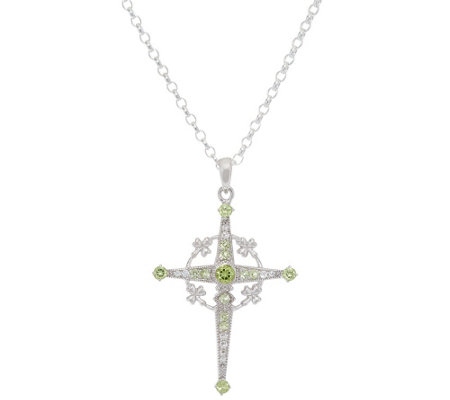 Fado Sterling Silver Peridot & Topaz Shamrock Celtic Cross