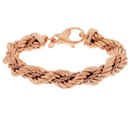 """As Is"" Bronzo Italia Twisted Double Rope Chain Bracelet"