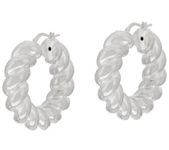 UltraFine Silver Bold Twisted Round Hoop Earrings - J320445