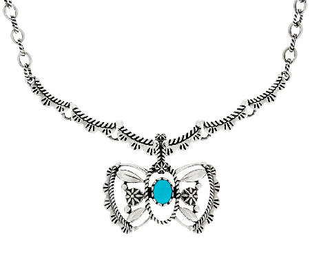 Sterling Silver Necklace w/ Butterfly Enhancer by American West