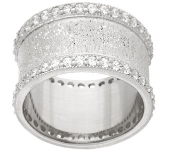 Vicenza Silver Sterling Diamonique Textured Band Ring - J321645