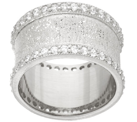 Italian Silver Sterling Diamonique Textured Band Ring