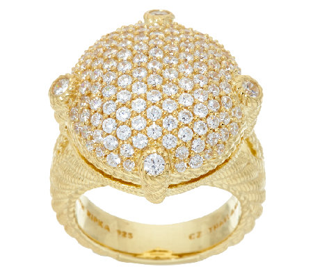 Judith Ripka Sterling & 14K Clad Pave' Diamonique Ring