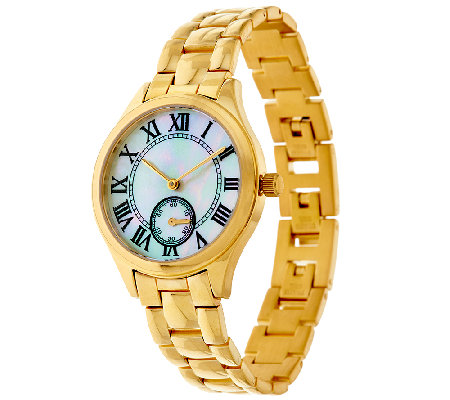 Veronese 18K Clad Mother of Pearl Panther Link Watch