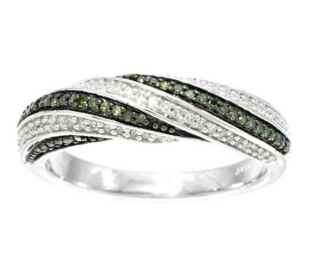 """As Is"" Color & White Band Diamond Ring, Sterling 1/4ct tw by Affinity"