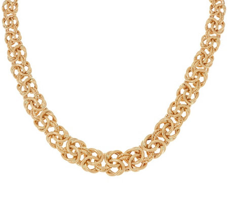 "14K Gold 18"" Textured & Polished Byzantine Necklace, 34.2g"