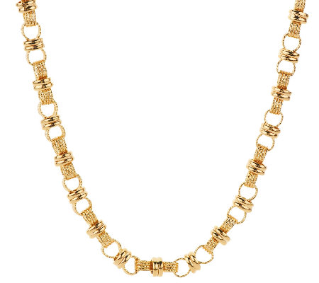 """As Is""Veronese 18K Clad 20"" Polished & Textured Status Link Necklace"