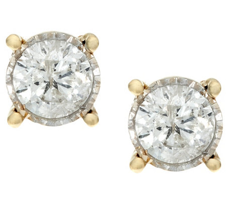 """As Is"" Diamond Miracle Stud Earrings, 14K Gold 1.50cttw by Affinity"