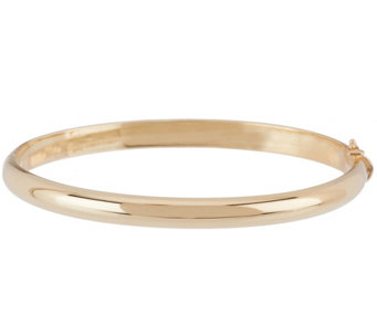 "14K Gold Solid Large 1/4"" Oval Hinged Bangle Bracelet, 34.2g - J328245"