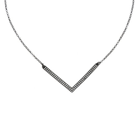 """As Is"" Vicenza Silver Sterling Diamonique Chevron Necklace"