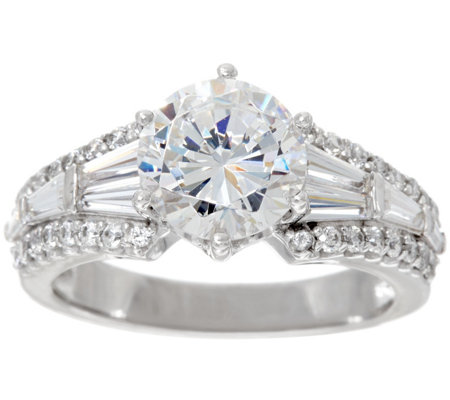 Diamonique Round & Baguette Bridal Ring, Platinum Clad