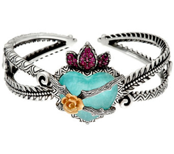 Barbara Bixby Sterling & 18K Flaming Heart 0.80 cttw Cuff Bracelet - J329645