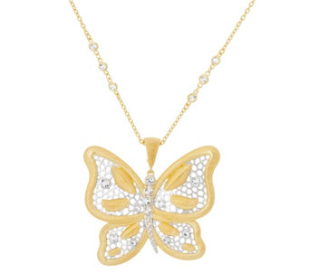 "Genesi 18K Clad Butterfly Enhancer with 24"" Chain,28.0g - J330445"