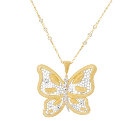 "Genesi 18K Clad Butterfly Enhancer with 24"" Chain,28.0g"