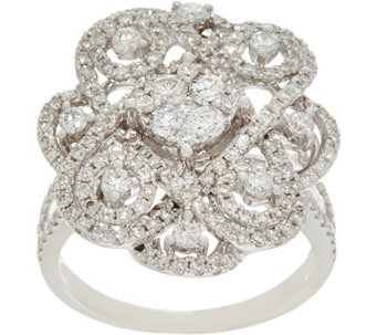 Round White Diamond Cocktail Ring 14K, 1.50 cttw by Affinity - J330545