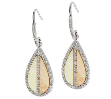 """As Is"" Golden Mother-of-Pearl and White Topaz Sterling Earrings"