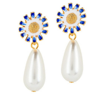 """As Is"" Kenneth Jay Lane's Flower Simulated Pearl Drop Earrings - J330845"