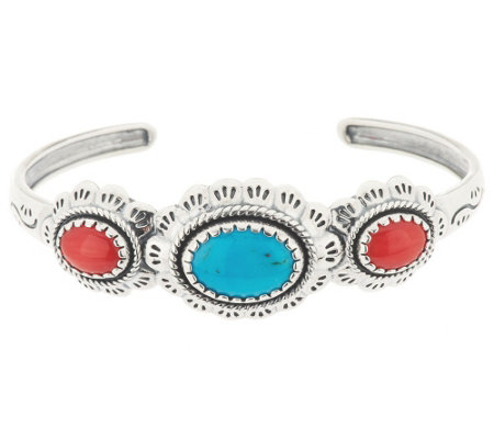 """As Is"" Turquoise & Coral Scallop Design Sterling Cuff"