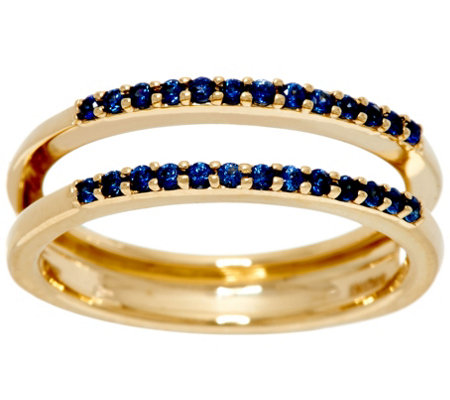 """As Is"" Blue Sapphire Ring Guard, 14K Gold .20 cttw by Affinity"