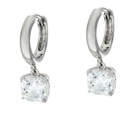 Diamonique Dangle Earrings, Sterling