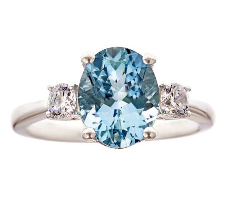 Premier 2.25ct Aquamarine & 3/10cttw Diamond Ring, 14K
