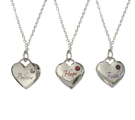 Catherine Galasso Faith, Hope, Believe Heart Pendants