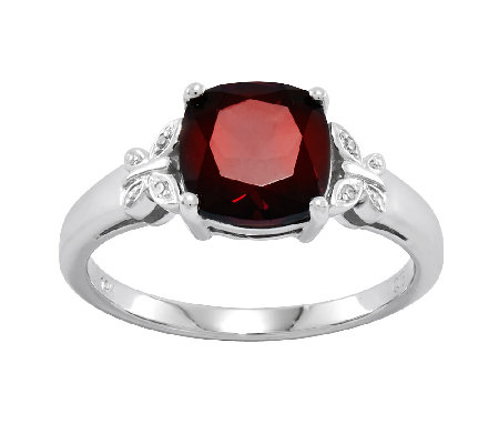 Cushion Cut Gemstone w/ Butterfly Accent Ring,14K White Gold