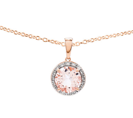 2.70 cttw Round Morganite & Diamond Halo Pendant w/ Chain,14K
