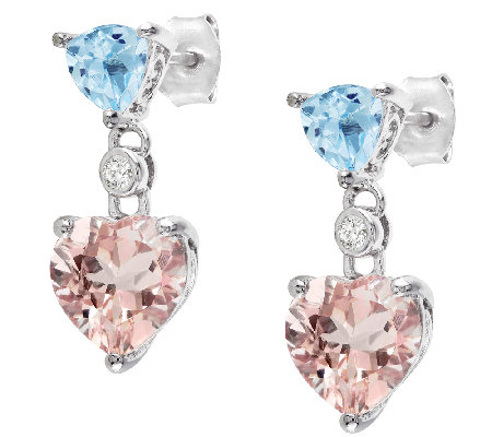 4.50cttw Blue Topaz & Morganite Heart Drop Earrings, Sterling