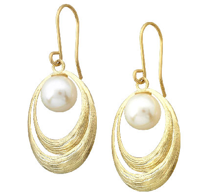 EternaGold Textured Oval Freshwater Pearl Dangle Earrings, 14