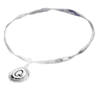 Hagit Sterling Textured Bangle with Initial Cha rm - J338045