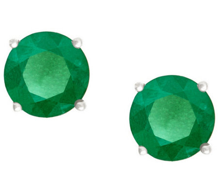 Premier 3/4 cttw Round Emerald Stud Earrings, 14K
