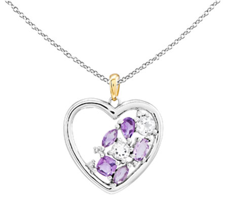 Sterling & 14K 1.60cttw Multi-Gemstone Heart Pendant w/ Chain