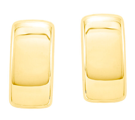 Domed Rectangle Post Earrings, 14K Gold