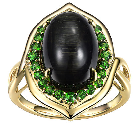 Cat's-Eye Tourmaline & Chrome Diopside Ring, 14K Gold