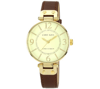 Anne Klein Goldtone Round Dial and Brown Leather Strap Watch - J338745