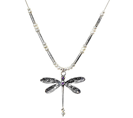 Sterling Pearl & Amethyst Dragonfly Necklace by Or Paz