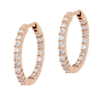 Diamond Inside Out Hoop Earrings, 14K, 1.0cttw by Affinity - J340245