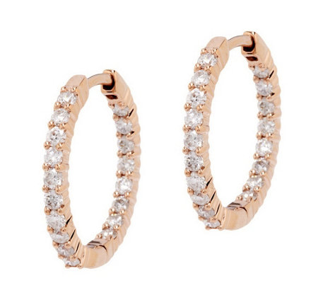 Diamond Inside Out Hoop Earrings, 14K, 1.0cttw by Affinity