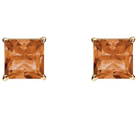 Princess-Cut Gemstone Basket Stud Earrings, 14K